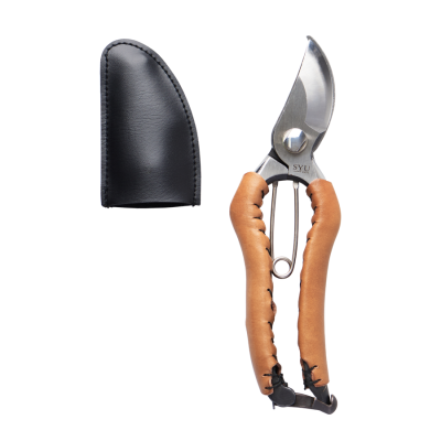 syu Japanese made secateurs with camel leather handle, small size
