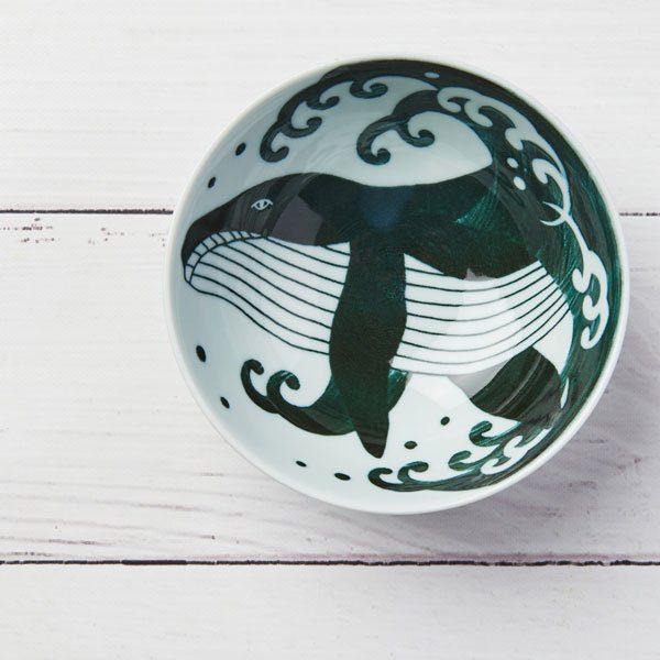 Small Bowl Whale, Mino Ware Japanese Ceramic