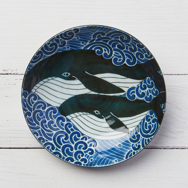 Whale Curry & Pasta Deep Plate, Mino Ware Japanese Ceramic
