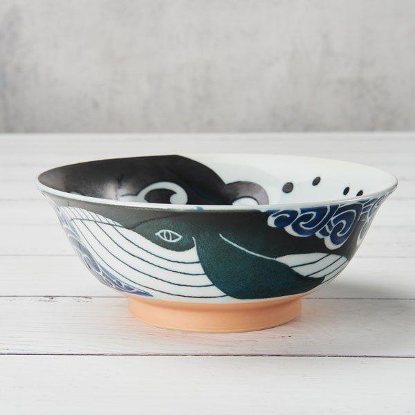 Mino Ware Japanese Ceramic Ramen Bowl Whale Side Shot