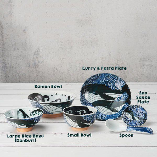 Whale Plate Set, Mino Ware Japanese Ceramic