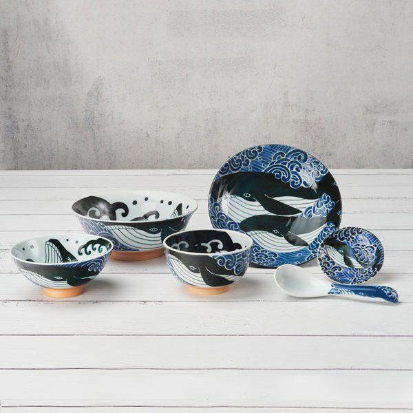 Mino Ware Japanese Ceramic Set Whale
