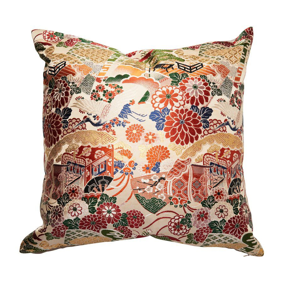 Japanese vintage silk cushion with metallic threads